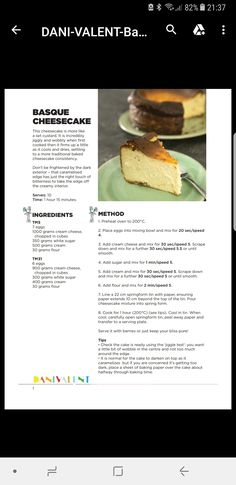 Basque Cheesecake Yummy Recipes, Cake Recipes, Dessert Recipes, Yummy Food, Thermomix Desserts, Cheese Cakes, Noodles, Food And Drink, Beef
