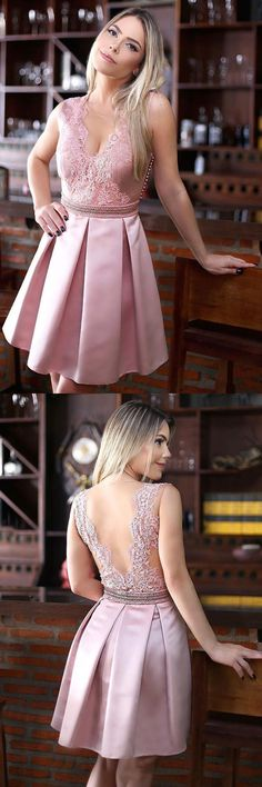 simple a-line fashion dresse, chic pink open back party gowns, cheap short homecoming dresses.