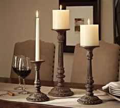 Devon cast iron eclectic candlesticks cast bronze candle holder pottery barn pottery barn iron petaluma candlesticks nwt pottery barn black cat y gl berry antler… Wooden Pillars, Wooden Candle Holders, Candle Set, Light Decorations, Wedding Decorations, Table Decorations, Pillar Candles, Flameless Candles, Candle Lanterns