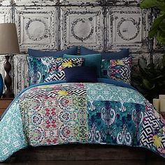 Amazon.com: Tracy Porter Florabella blue teal purple green king comforter set: Home & Kitchen
