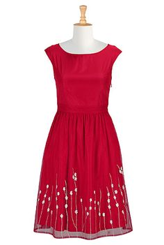 I <3 this Floral embellished tulle dress from eShakti