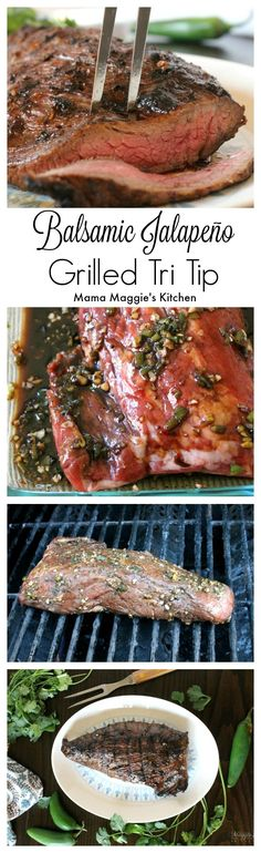 This mouthwatering Balsamic Jalapeño Grilled Tri Tip is so tender and yummy. It's what summer nights are made of. - by Mama Maggie's Kitchen
