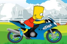 Simpsons bike ride is a ride with bart on a motorbike .  Will you complete all 10 levels?Be very careful and you can win every stage.  Collect alien balls to increase your score