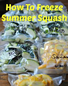 how to freeze summer squash.what to do with all that summer squash that you have in the garden. (How To Bake Squash) Freezing Vegetables, Fruits And Veggies, Freezing Squash, Can You Freeze Squash, How To Freeze Zucchini, Frozen Vegetables, Freezer Cooking, Freezer Meals, Freezer Recipes
