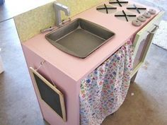 DIY play kitchen. Square sink. Made from MDF pieces