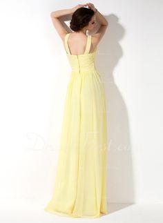 A-formet/Prinsesse Scoop Hals te-lengde Chiffong Brudepikekjole med Frynse (007022521) - DressFirst