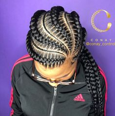 Thick+and+Thin+Asymmetrical+Feed-in+Braids. , Thick+and+Thin+Asymmetrical+Feed-in+Braids Box Braids Hairstyles, French Braid Hairstyles, Chic Hairstyles, Trending Hairstyles, Black Hairstyles, Hairstyles Pictures, Popular Hairstyles, African Hairstyles, Hairdos