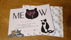 Cat birthday party invitation in pink and black with paw prints.
