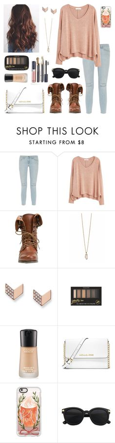 """Fall forever!"" by isabel-harsh ❤ liked on Polyvore featuring Frame Denim, MANGO, Steve Madden, Zoya, FOSSIL, MAC Cosmetics, MICHAEL Michael Kors and Casetify"