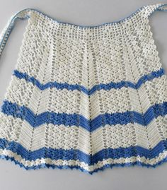 Vintage crochet apron - blue and white