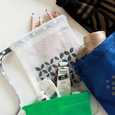 Make your own easy DIY drawstring bags to keep all your knick knacks in order!