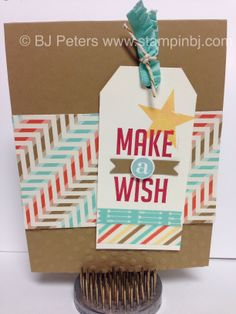 Stampin' Up! Perfect Pennants from 2014 Occasions Catalog.  Retro Fresh designer series paper and washi tape!   Check out the new bakers twine and embossing folder.   www.stampinbj.com