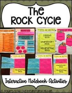 Rocks and The Rock Cycle Interactive Notebook Activities 4th Grade Science Projects, 6th Grade Science, Middle School Science, Elementary Science, Upper Elementary, Science Classroom, Teaching Science, Science Education, Physical Science