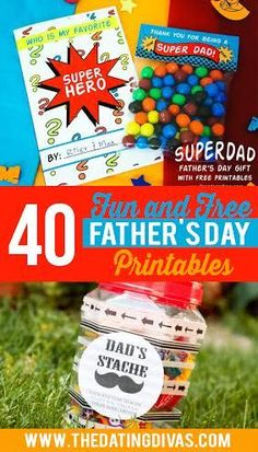 These 40 free printables are going to come in handy when getting my hubby, dad and father-in-law gifts for Father's Day! www.TheDatingDivas.com