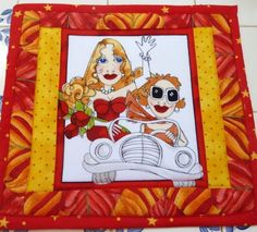 Mug Rug Hot Mat Potholder Loralie's Fast Women 2 Friends Red Yellow Pieced Fun | eBay