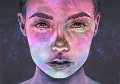 """Loving this mixed media piece """"Neon"""" by @tomaszmroart! Lovely way to blend traditional & digital mediums together to create a beautiful portrait  via BEAUTIFUL BIZARRE MAGAZINE OFFICIAL INSTAGRAM - Celebrity  Fashion  Haute Couture  Advertising  Culture  Beauty  Editorial Photography  Magazine Covers  Supermodels  Runway Models"""