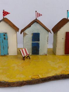 Kirsty Elson design, so cute Kitsch, Kirsty Elson, Ceramic Houses, Wood Houses, Driftwood Crafts, Driftwood Ideas, Seaside Decor, Driftwood Sculpture, Rustic Frames