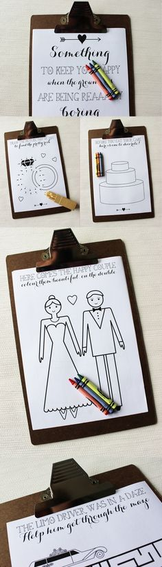 Long Bride and Groom Childrens Activity Book on Clipboard
