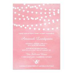 Watercolor Birthday Invitations Fairy Lights Pink Sweet Sixteen Party Invitation