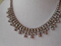 Vintage Rhinestone Jewelry 1940s Necklace by LittleBitsofGlamour, $40.00