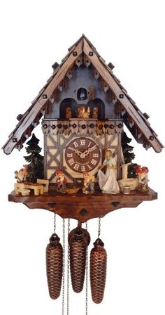August Schwer 8 Day Musical Swiss chalet Snow White and the 7 Dwarfs Cuckoo Clock White Clocks, Old Clocks, Antique Clocks, Cuckoo Clocks, Antique Watches, Coo Coo Clock, Vintage Appliances, Father Time, Grandfather Clock