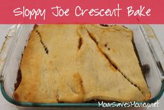 Sloppy Joe Crescent Bake - just 2 ingredients away from a tasty dinner! I Love Food, Good Food, Yummy Food, Fun Food, Tasty, Snack Recipes, Cooking Recipes, Snacks, Yummy Recipes