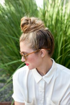 Messy Top Knot Hair Tutorial | Camille Styles