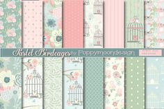 Pastel birdcages paper by Poppymoondesign on @creativemarket