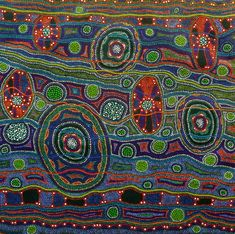 Amazing Australian Aboriginal Artwork by Arkeria Rose Armstrong / Yuluwirrigiirr Colours is the title of the painting. Aboriginal Artwork, Abstract Pictures, Zentangle Patterns, Outsider Art, Geometric Rug, Fabric Art, Bead Art, Art Tutorials, Flower Prints