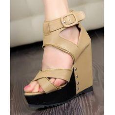 Wedge heel cross belt zipper hallow out peep toe
