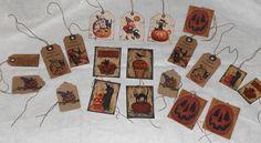 20 Primitive Rustic Folk Art Halloween Pumpkin JOL Black Cat