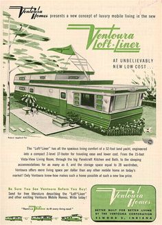 Vintage Cars See 14 awesome vintage advertisements for two story mobile homes! - See 14 awesome vintage two story mobile homes! These rare beauties are truely unique and were ahead of their time. Retro Trailers, Retro Campers, Vintage Travel Trailers, Vintage Campers, Camper Trailers, Vintage Airstream, Airstream Interior, Rv Campers, Vintage Boats