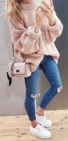 blush over-sized sweater, ripped jeans, white platform sneakers, chain handbag. #fall #stylish #casual