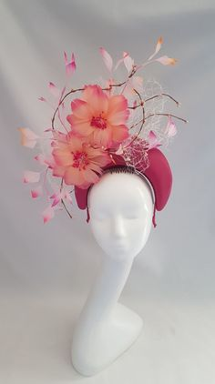 Fuchsia Pink leather halo with handmade apricot and pink feather flowers. Backed with ivory mesh, twisted vines and pink tipped feathers Fascinator Hairstyles, Fascinator Hats, Hat Hairstyles, Fascinators, Flower Headdress, Floral Headpiece, Theme Nature, Occasion Hats, Christmas Shoes