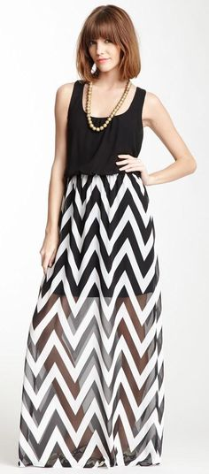 Chevron Maxi Dress - Love these kinds of skirts with the sheer floor-length over it.