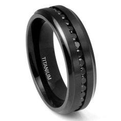 7MM Men's Eternity Black Titanium Ring Wedding Band with CZ