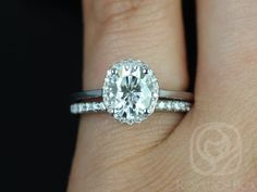 Celeste 8x6mm & Sweetheart Barra Band 14kt White Gold Oval FB Moissanite and Diamonds Pave Halo Wedding (Other metals and stones available)