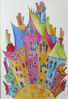 Colourful and cheerful houses on the hilltop  An por shelikesthis, £45.00