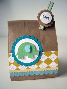 Elephant baby shower favor via Plain Jane Baby Favors, Baby Shower Favors, Elephant Birthday, Elephant Baby, Goodie Bags, Gift Bags, Cricut Cards, Baby Cards, Cardmaking