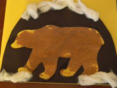 Goes with Brown Bear Brown Bear, and Bear Snores On. We painted fur onto the bear using combs then put him into a cave to hibernate!