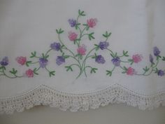 Vintage Embroidered Pillowcases with Crocheted Edge -