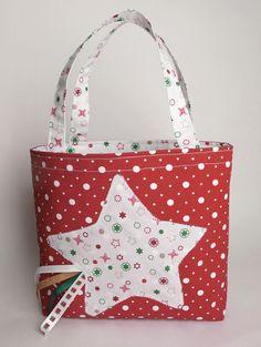 Sac cabas étoile de Noël, rouge et blanc, à pois et étoiles : Sacs enfants par mllekameleon