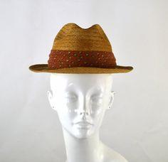 1950s Mens Tan Straw Fedora Hat Rockabilly by KrisVintageClothing