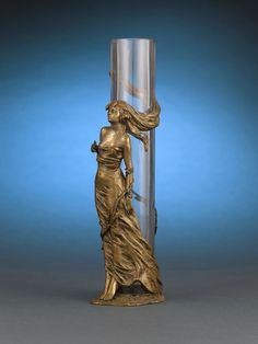 """Art Nouveau Vienna Bronze Vase - Stamped with the Bergmann stamp and """"Geschutzt"""" Austria, circa 1890"""