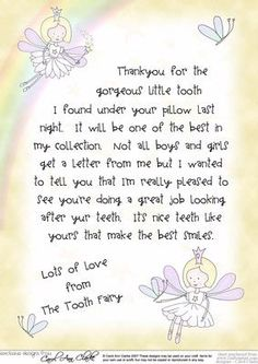 Tooth Fairy Letter hopefully for later rather than sooner.  He is a rough and tumble sort of boy.