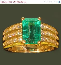 Estate diamond emerald engagement by adinantiquejewellery, €15300.00