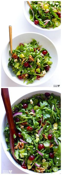 Grape, Avocado & Arugula Salad -- this simple salad is fresh, light, and full of wonderful sweet flavors you'll love! | http://gimmesomeoven.com #salad #recipe #glutenfree