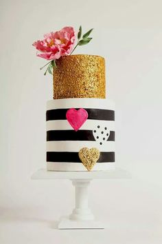Funky cake... maybe change gold to silver, loose the hearts