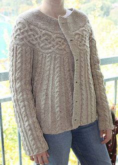 Cabled Yoke Cardigan by kathieP, via Flickr