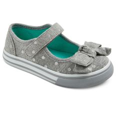 The perfect mix of sweet and sporty, these Toddler Girls' Jeri Polka Dot Canvas Mary Jane Shoes in Grey are perfect for everyday. They feature a sturdy canvas construction, Mary Jane design, adjustable hook and loop strap and fabric bow at the toe.